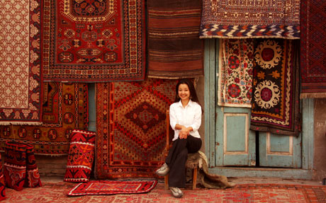 Tina Su in Kashgar Carpet Shop, Xinjiang, China