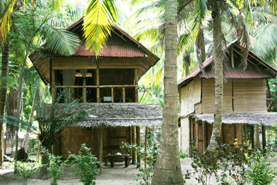 Bamboo hut at Emerald Gecko in Havelock Andaman Islands India