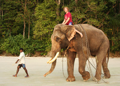 Adam riding Rajan the Elephant Havelock Andaman Islands India Beach 7
